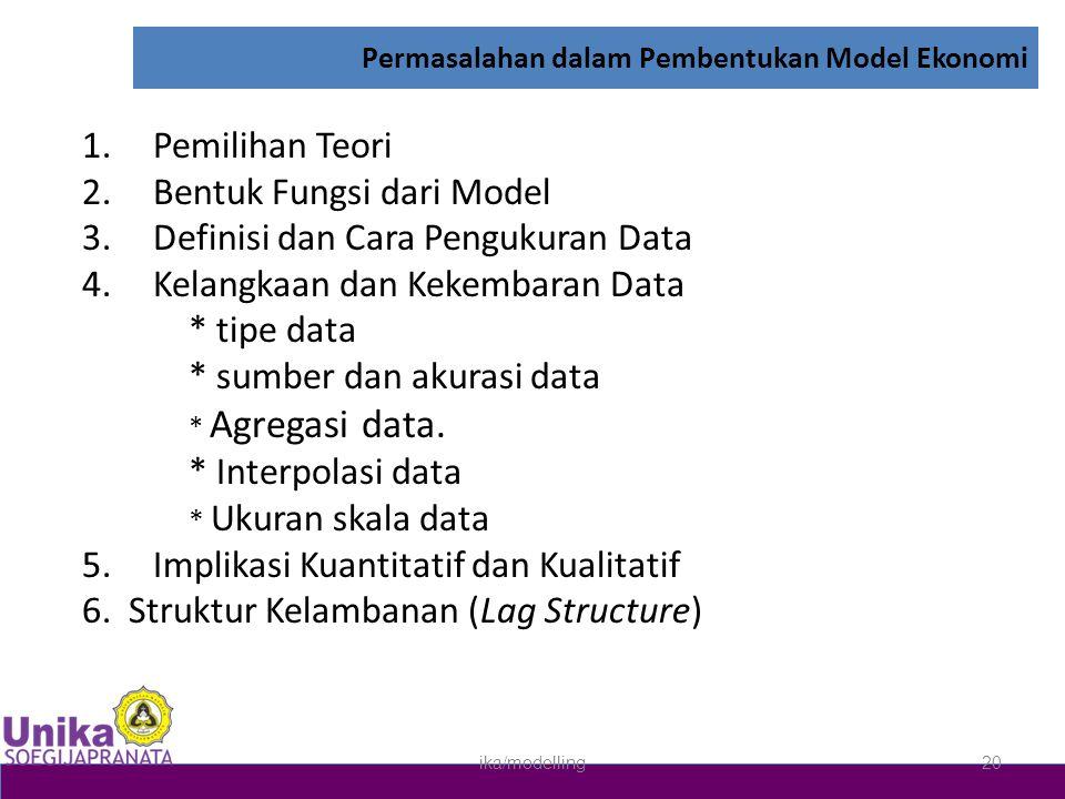 Permasalahan dalam Pembentukan Model Ekonomi