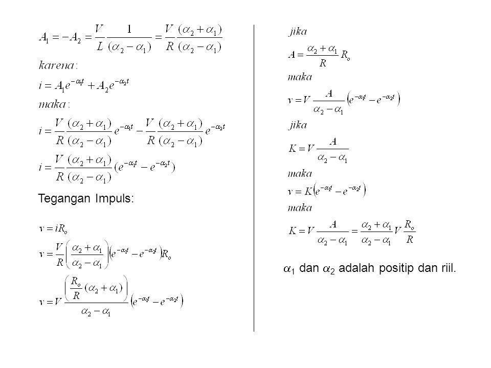 Tegangan Impuls: 1 dan 2 adalah positip dan riil.