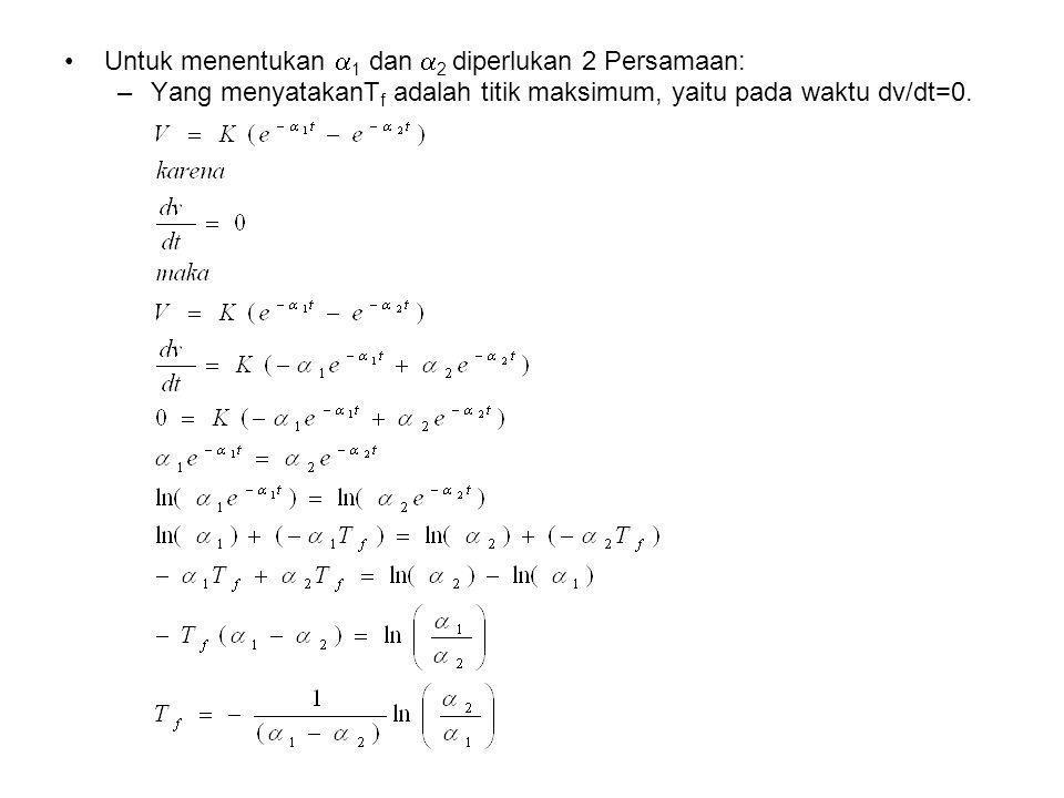 Untuk menentukan 1 dan 2 diperlukan 2 Persamaan: