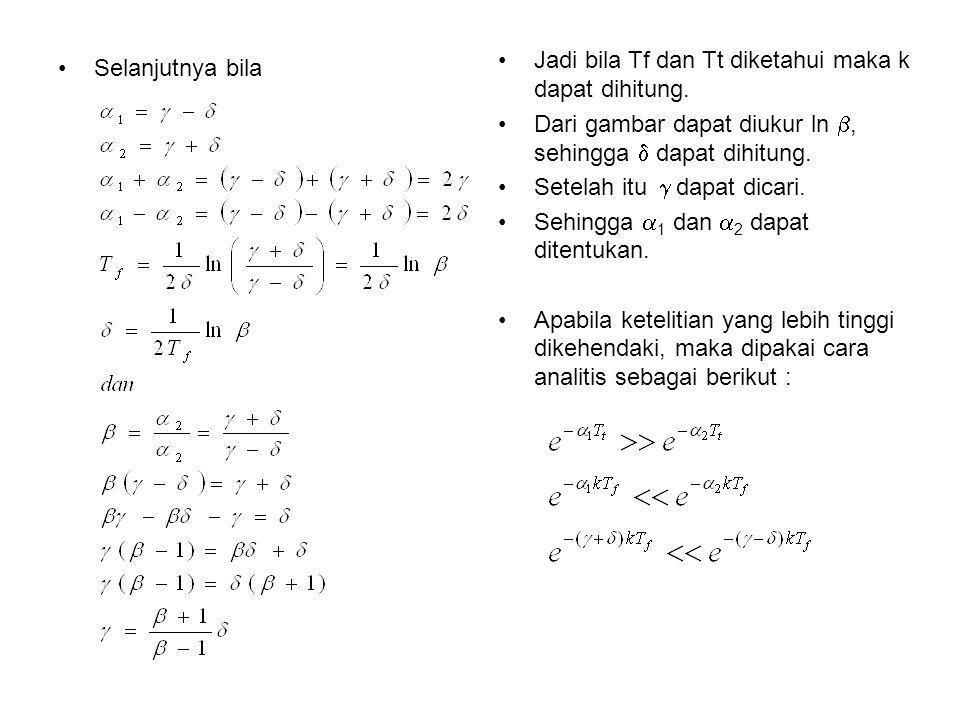 Jadi bila Tf dan Tt diketahui maka k dapat dihitung.
