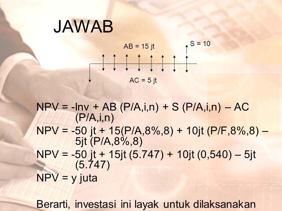 JAWAB NPV = -Inv + AB (P/A,i,n) + S (P/A,i,n) – AC (P/A,i,n)