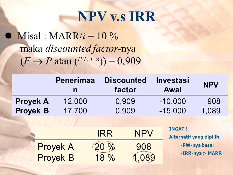 NPV v.s IRR Misal : MARR/i = 10 % maka discounted factor-nya