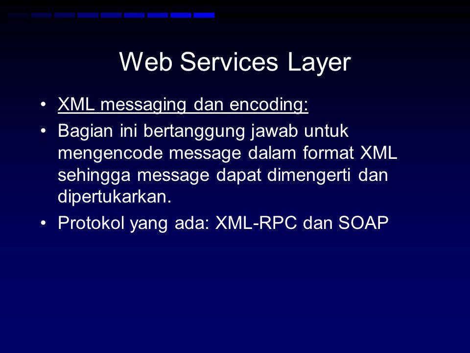Web Services Layer XML messaging dan encoding: