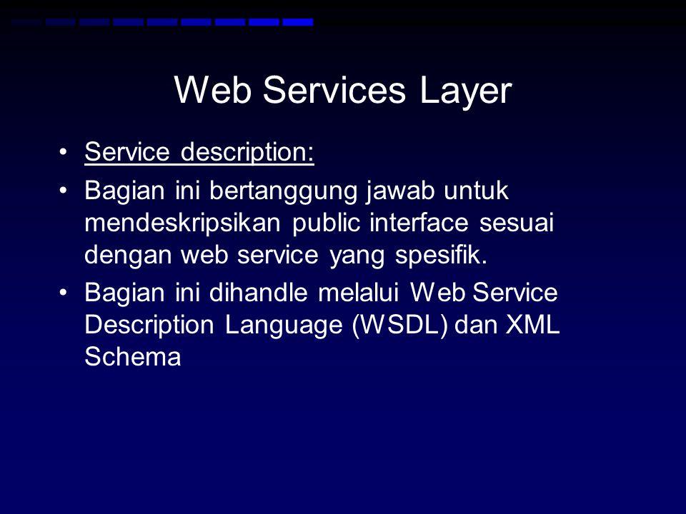 Web Services Layer Service description: