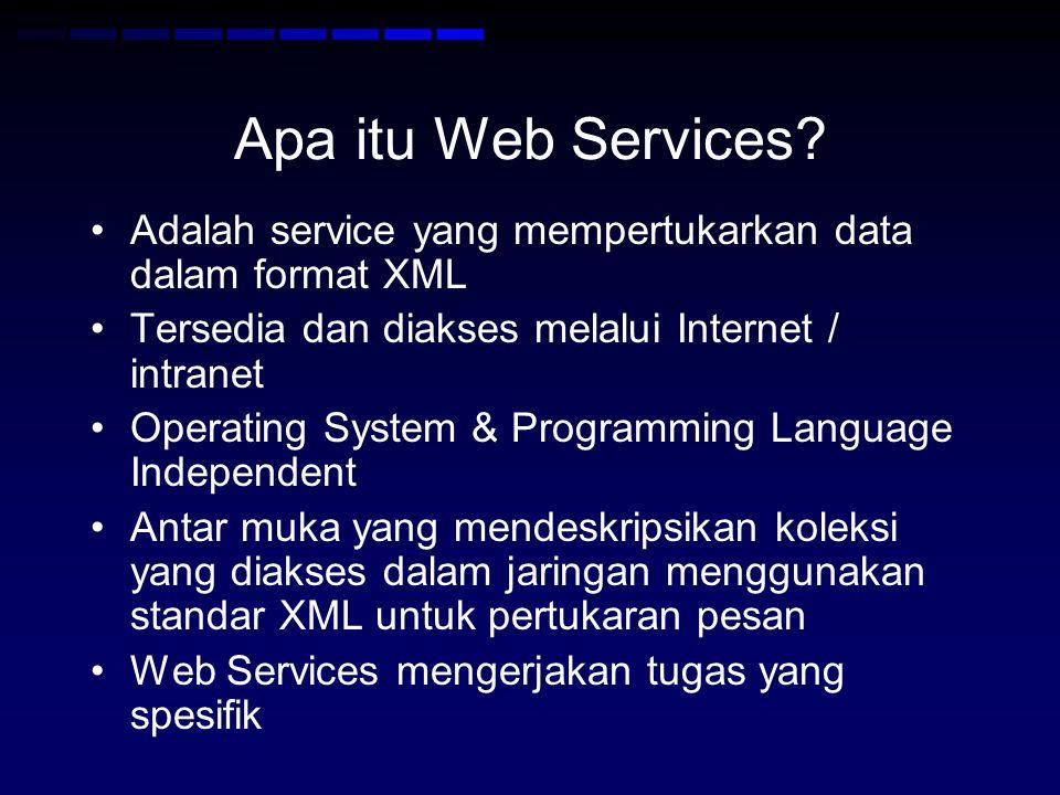 Apa itu Web Services Adalah service yang mempertukarkan data dalam format XML. Tersedia dan diakses melalui Internet / intranet.