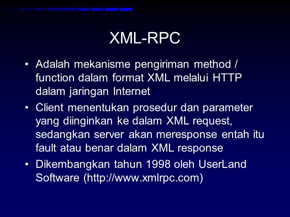 XML-RPC Adalah mekanisme pengiriman method / function dalam format XML melalui HTTP dalam jaringan Internet.