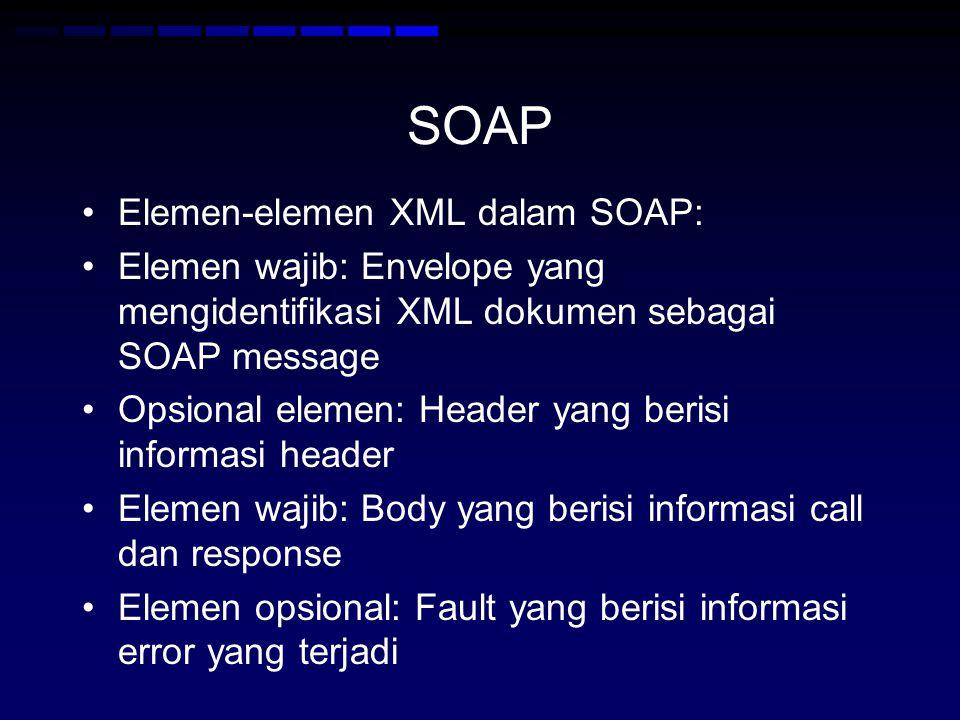 SOAP Elemen-elemen XML dalam SOAP: