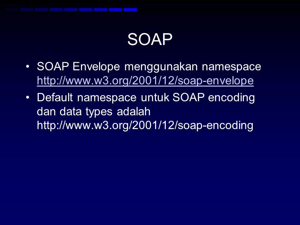 SOAP SOAP Envelope menggunakan namespace http://www.w3.org/2001/12/soap-envelope.