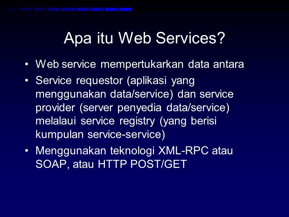 Apa itu Web Services Web service mempertukarkan data antara