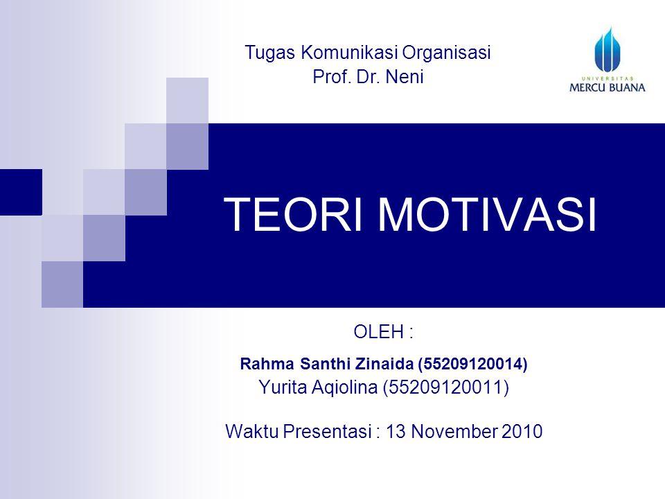 TEORI MOTIVASI Tugas Komunikasi Organisasi Prof. Dr. Neni OLEH :
