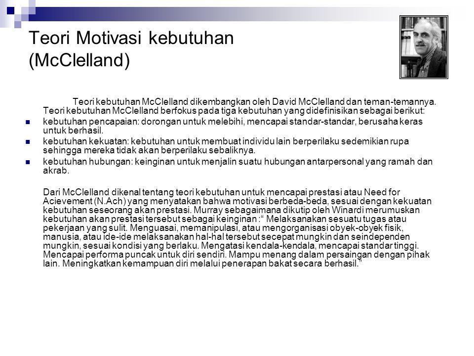 Teori Motivasi kebutuhan (McClelland)