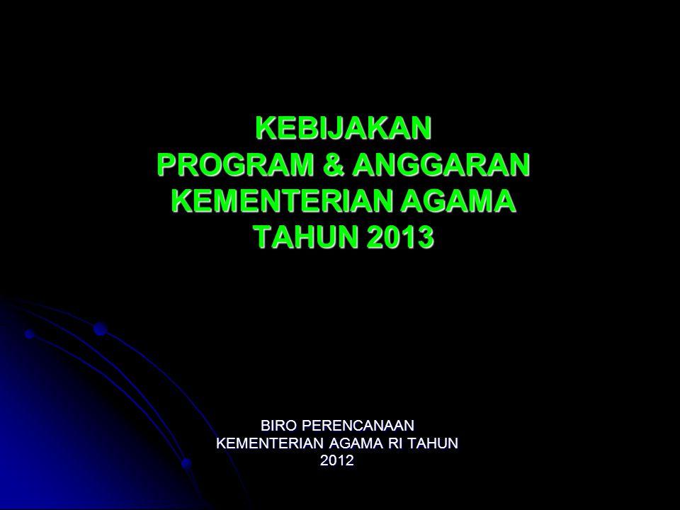KEBIJAKAN PROGRAM & ANGGARAN KEMENTERIAN AGAMA TAHUN 2013