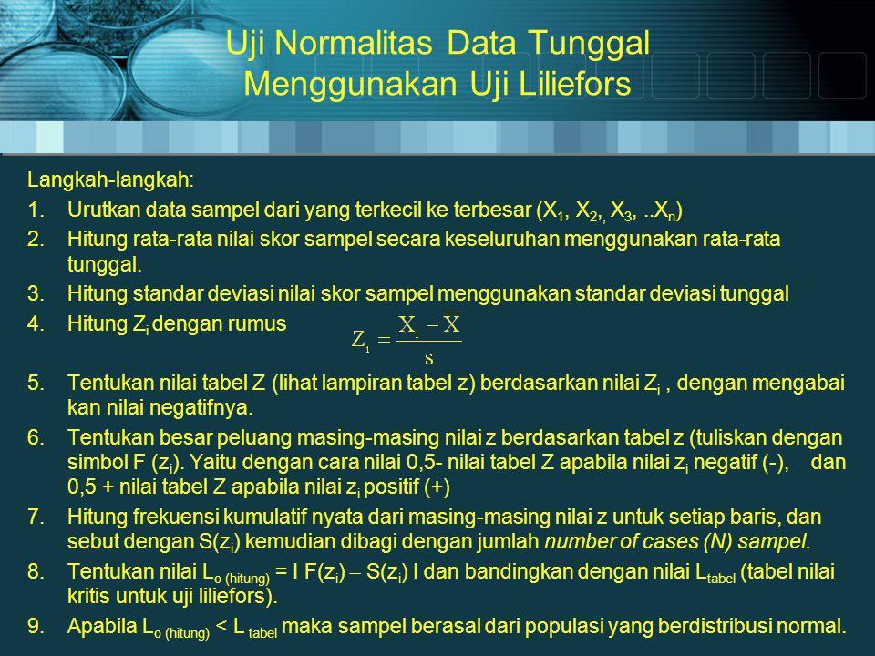 Uji Normalitas Data Tunggal Menggunakan Uji Liliefors