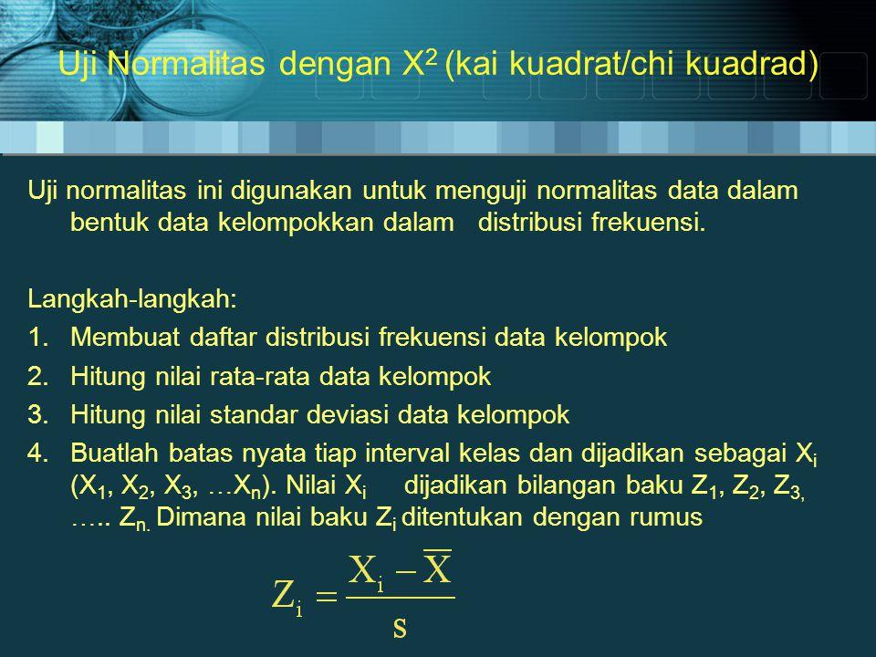 Uji Normalitas dengan X2 (kai kuadrat/chi kuadrad)