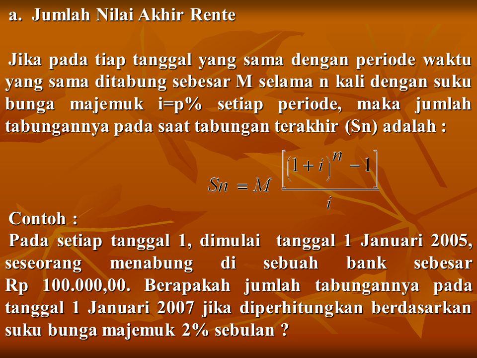 a. Jumlah Nilai Akhir Rente