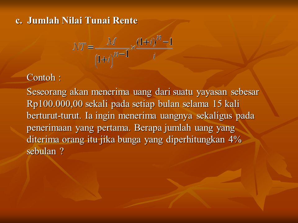 c. Jumlah Nilai Tunai Rente
