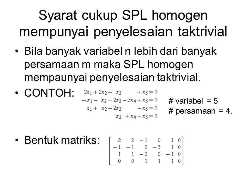 Syarat cukup SPL homogen mempunyai penyelesaian taktrivial
