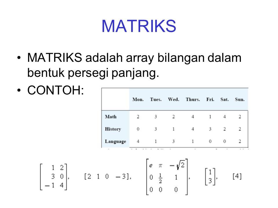 MATRIKS MATRIKS adalah array bilangan dalam bentuk persegi panjang.