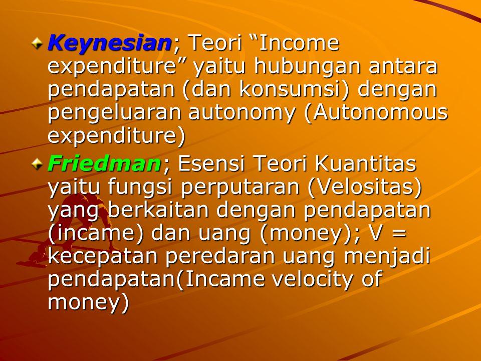 Keynesian; Teori Income expenditure yaitu hubungan antara pendapatan (dan konsumsi) dengan pengeluaran autonomy (Autonomous expenditure)