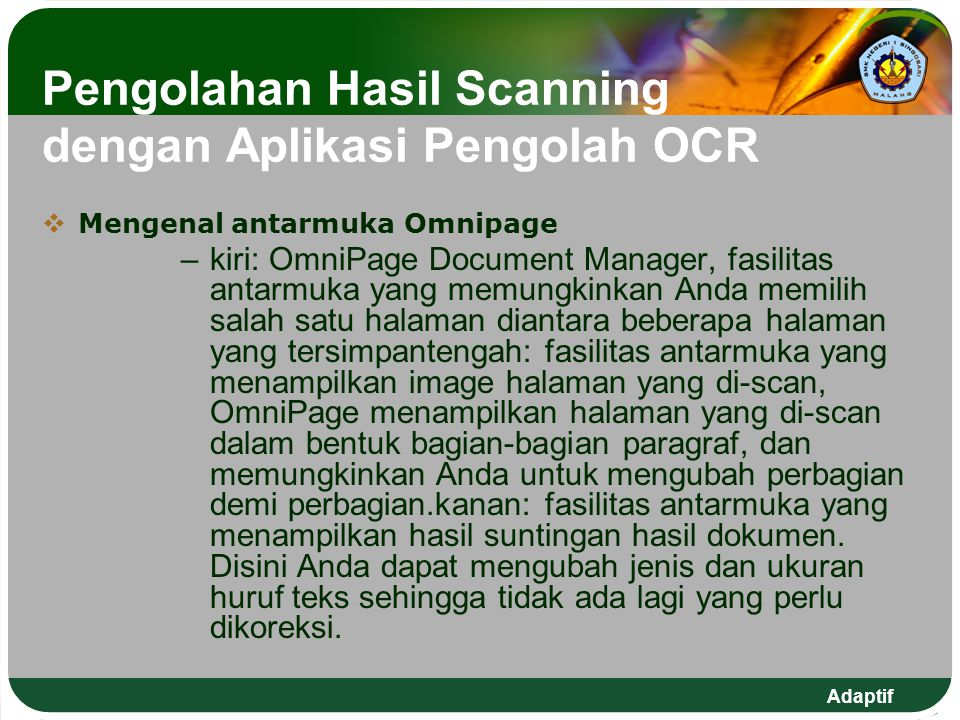 Pengolahan Hasil Scanning dengan Aplikasi Pengolah OCR
