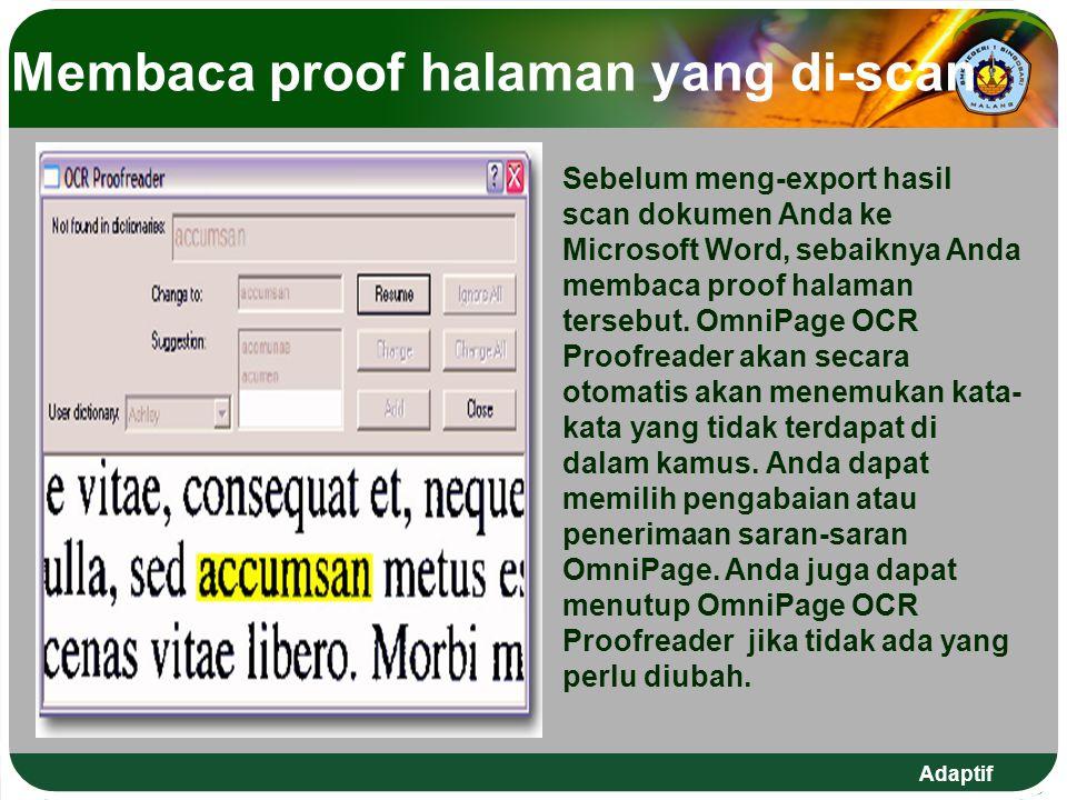 Membaca proof halaman yang di-scan
