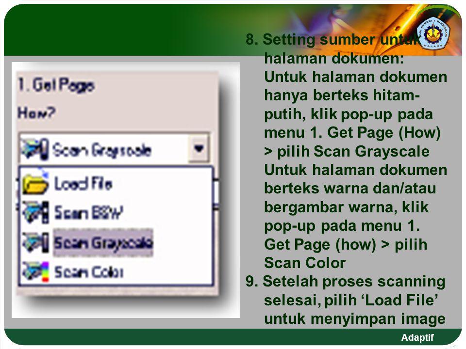 8. Setting sumber untuk halaman dokumen: