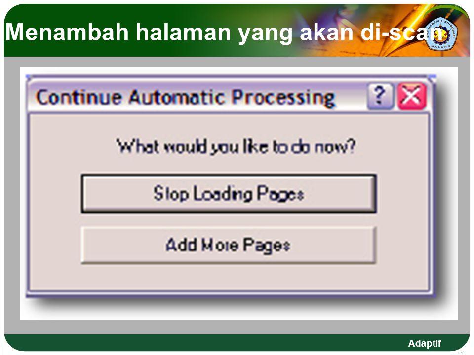 Menambah halaman yang akan di-scan