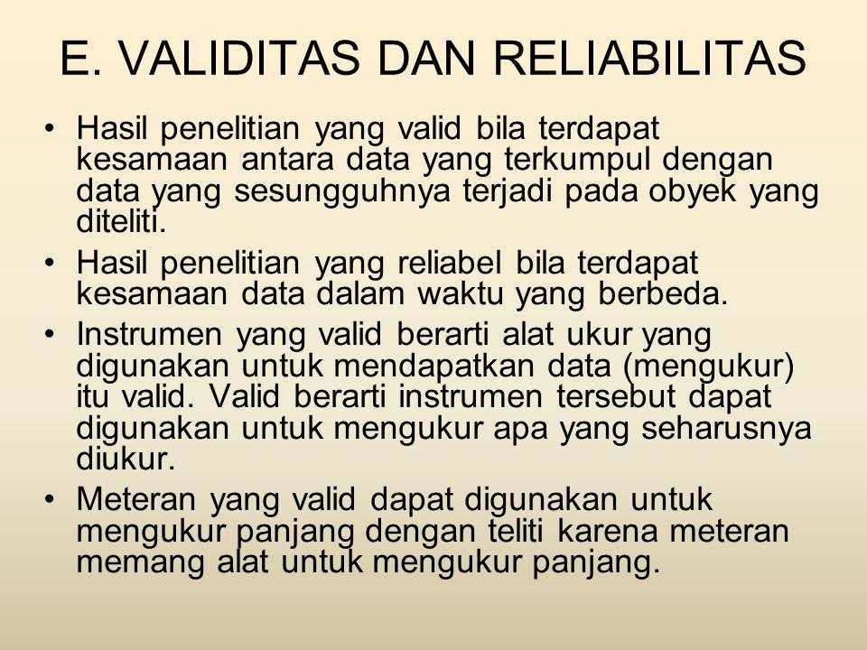 E. VALIDITAS DAN RELIABILITAS