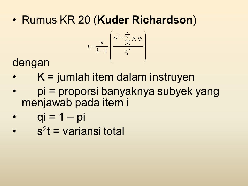 Rumus KR 20 (Kuder Richardson)