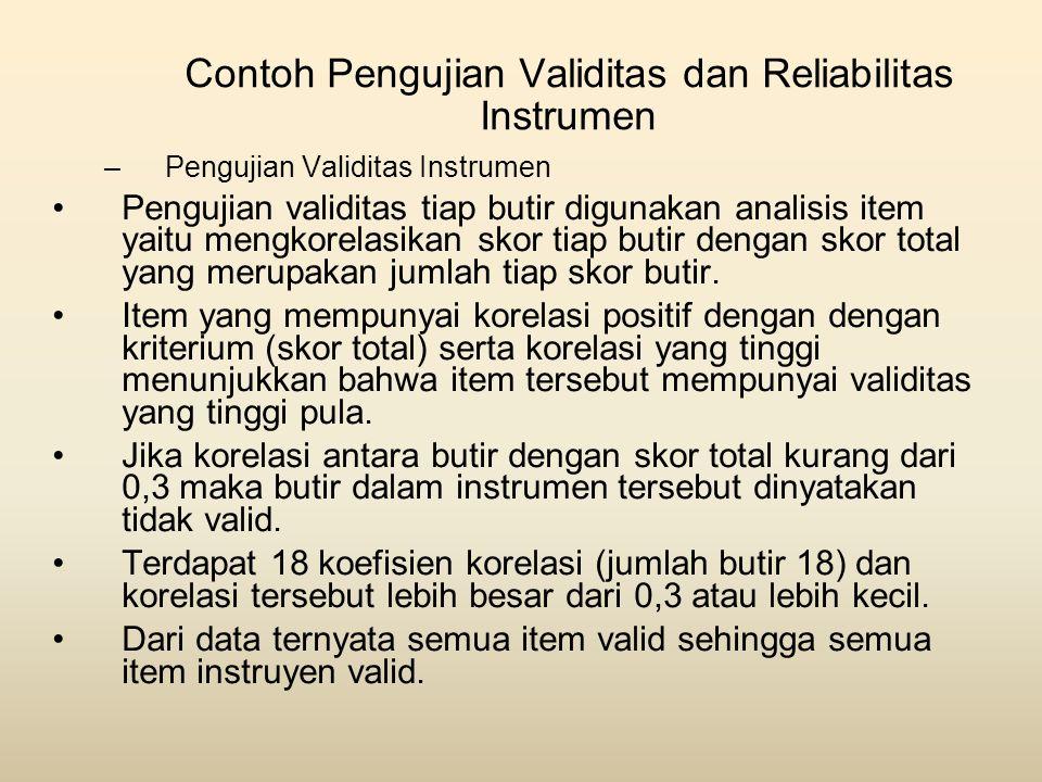 Contoh Pengujian Validitas dan Reliabilitas Instrumen