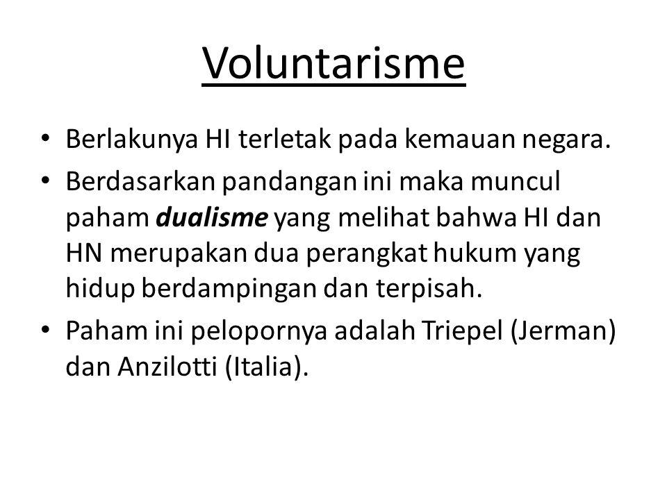 Voluntarisme Berlakunya HI terletak pada kemauan negara.