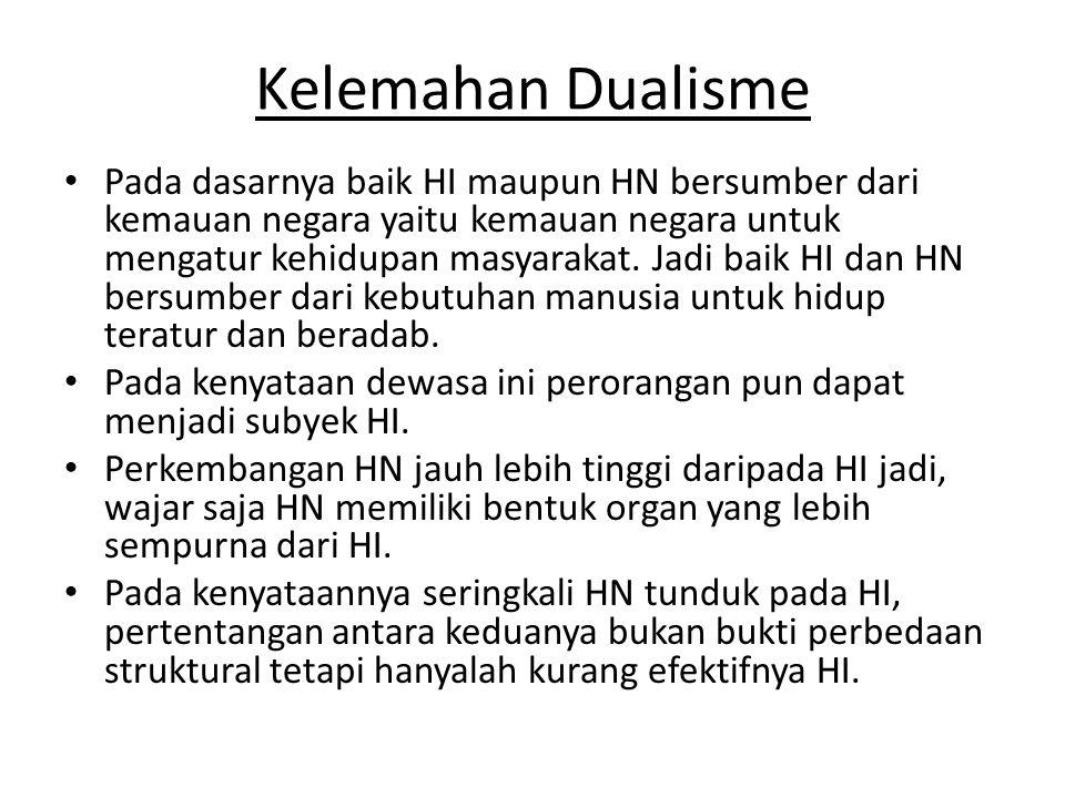 Kelemahan Dualisme