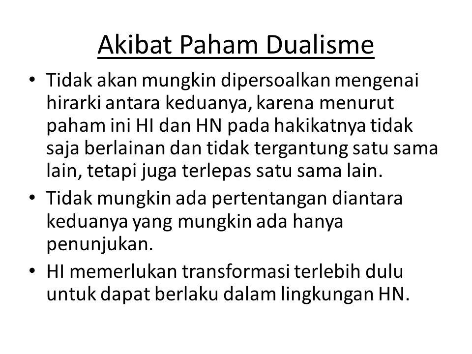 Akibat Paham Dualisme