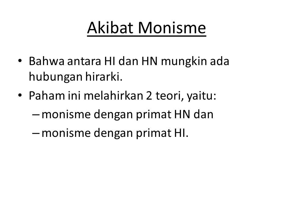 Akibat Monisme Bahwa antara HI dan HN mungkin ada hubungan hirarki.