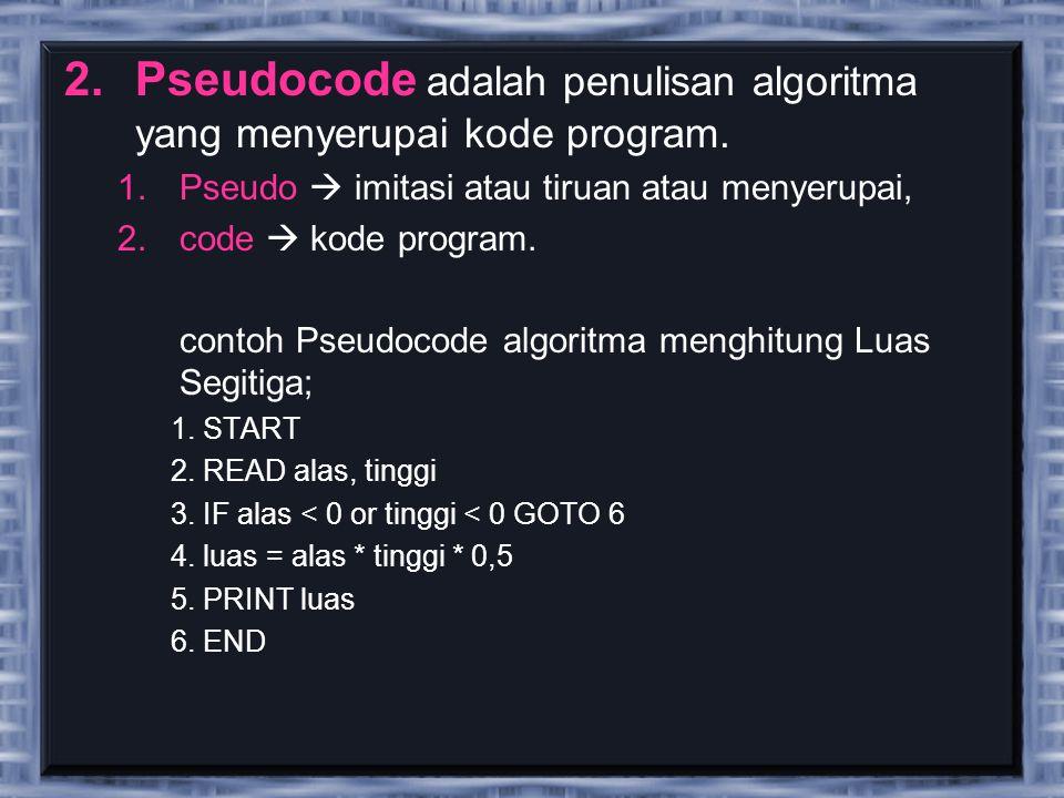 Pseudocode adalah penulisan algoritma yang menyerupai kode program.
