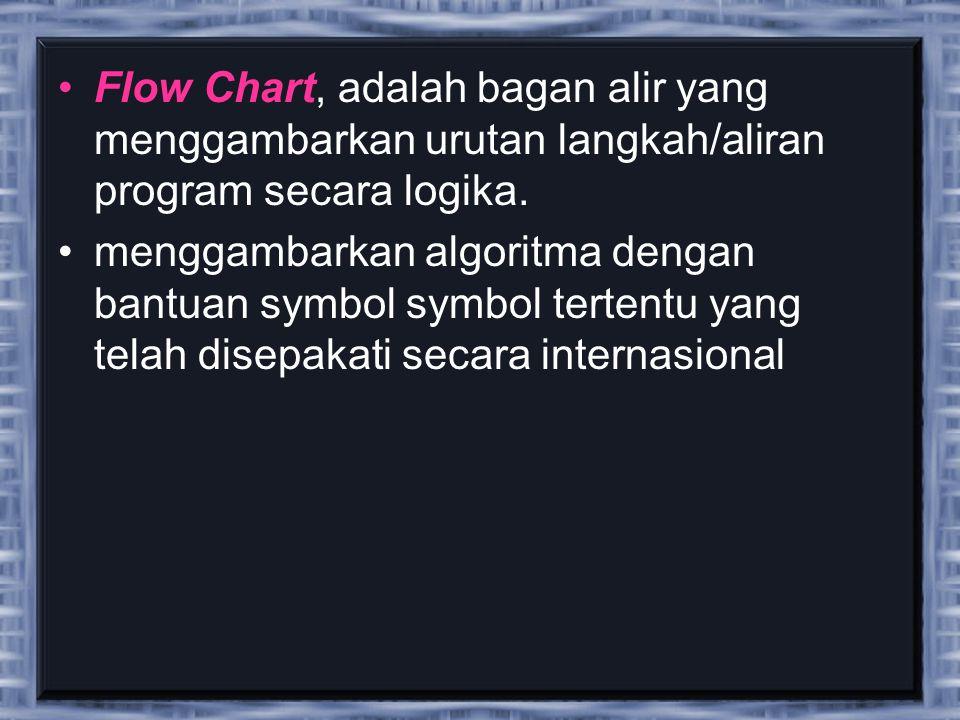 Flow Chart, adalah bagan alir yang menggambarkan urutan langkah/aliran program secara logika.