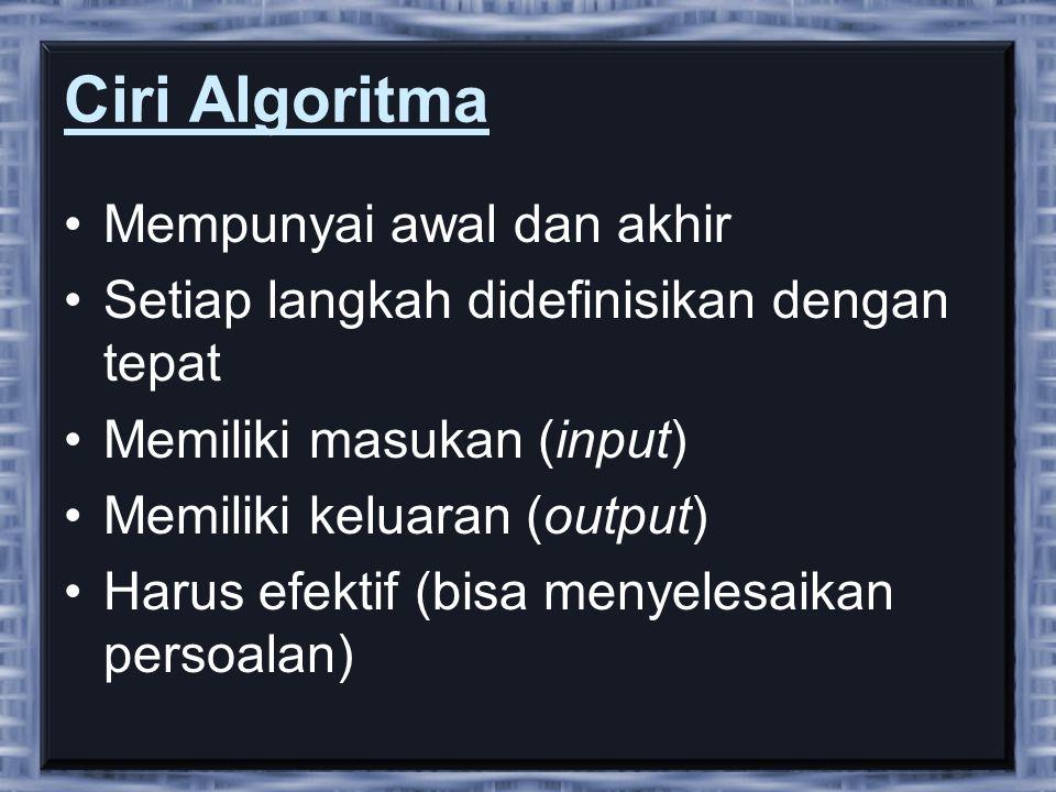 Ciri Algoritma Mempunyai awal dan akhir