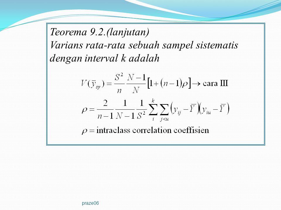 Varians rata-rata sebuah sampel sistematis dengan interval k adalah