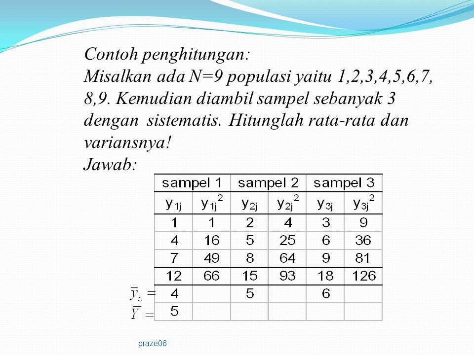 Misalkan ada N=9 populasi yaitu 1,2,3,4,5,6,7,