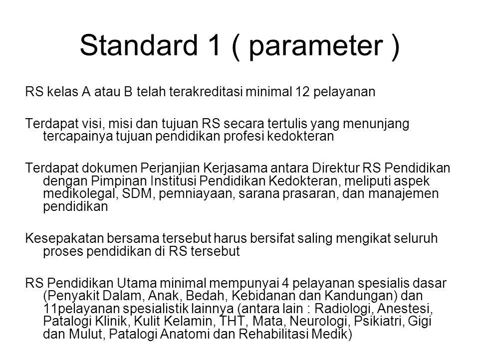 Standard 1 ( parameter ) RS kelas A atau B telah terakreditasi minimal 12 pelayanan.