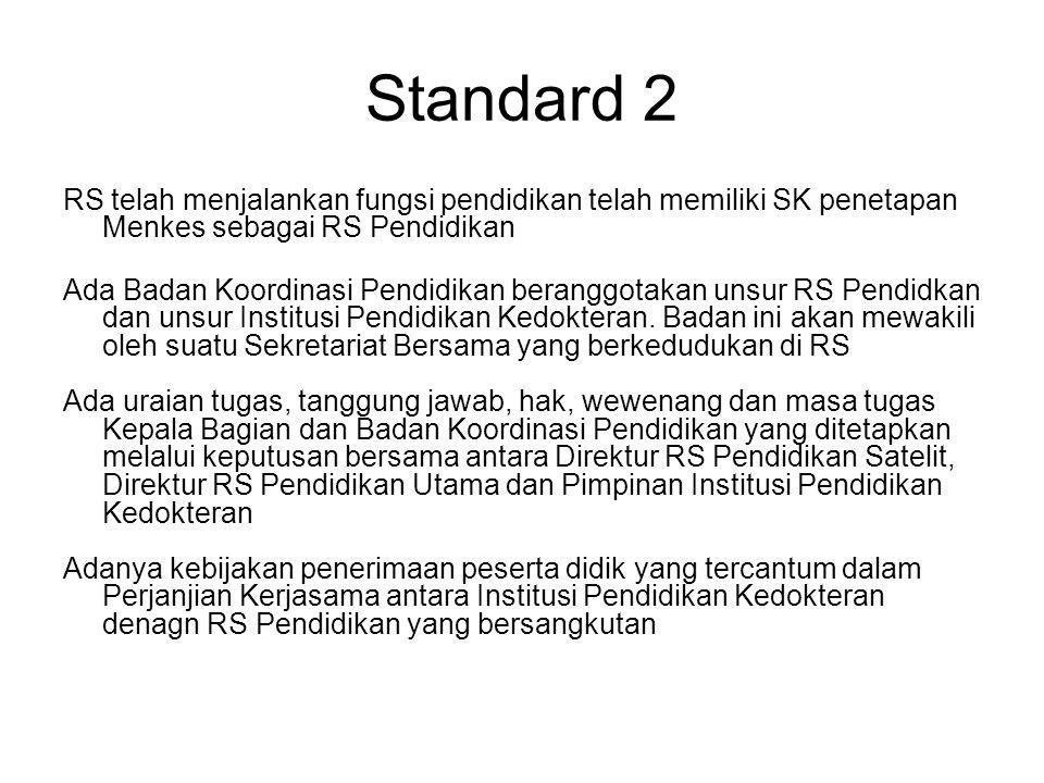 Standard 2 RS telah menjalankan fungsi pendidikan telah memiliki SK penetapan Menkes sebagai RS Pendidikan.
