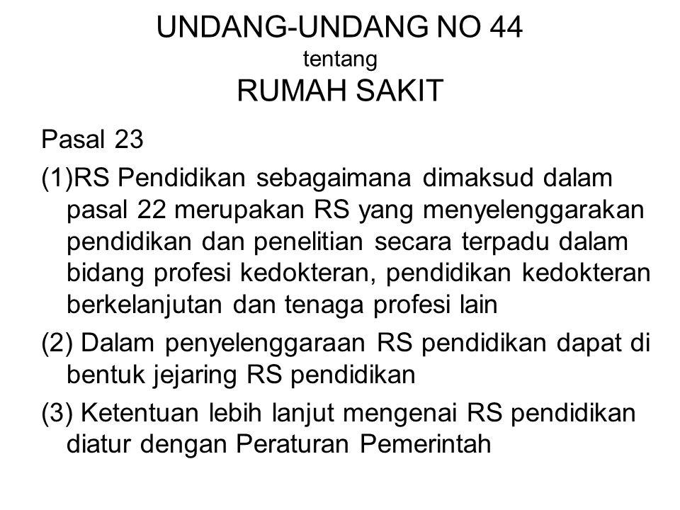 UNDANG-UNDANG NO 44 tentang RUMAH SAKIT
