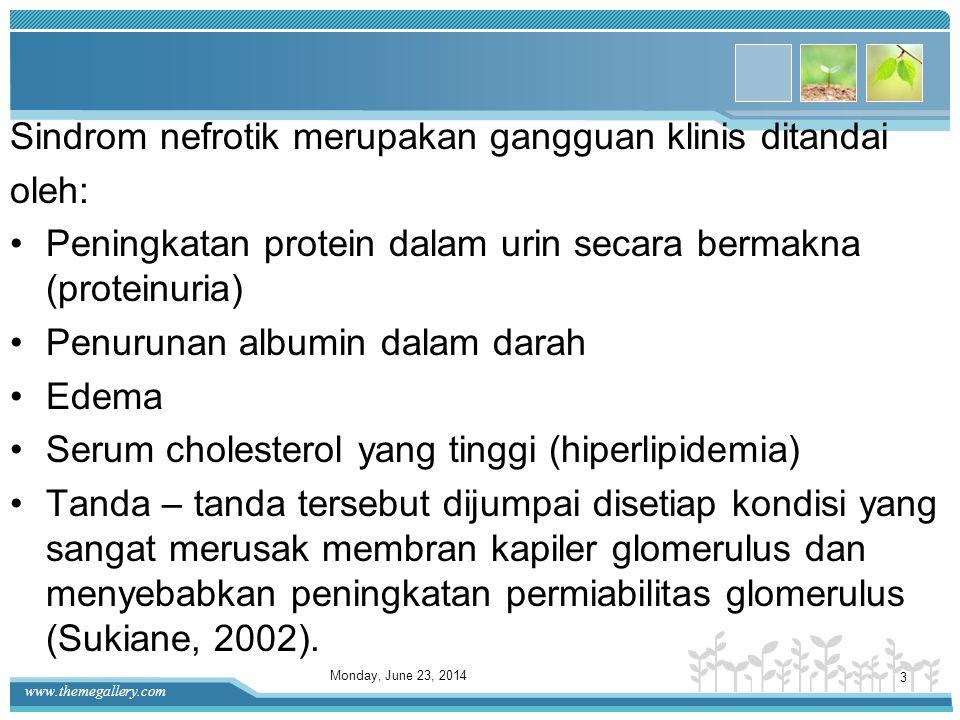 Sindrom nefrotik merupakan gangguan klinis ditandai oleh: