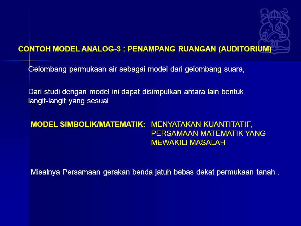 CONTOH MODEL ANALOG-3 : PENAMPANG RUANGAN (AUDITORIUM)