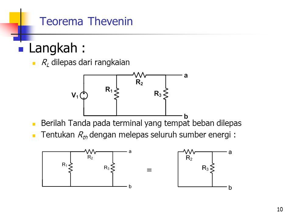 Langkah : Teorema Thevenin RL dilepas dari rangkaian
