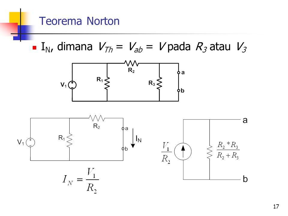 Teorema Norton IN, dimana VTh = Vab = V pada R3 atau V3