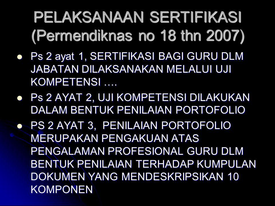 PELAKSANAAN SERTIFIKASI (Permendiknas no 18 thn 2007)