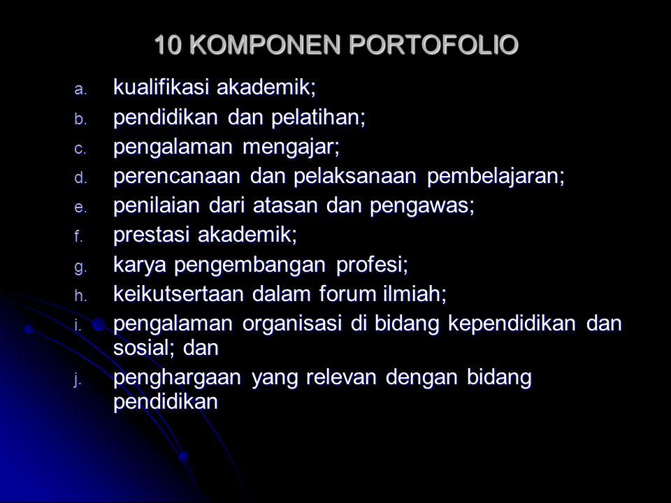10 KOMPONEN PORTOFOLIO kualifikasi akademik; pendidikan dan pelatihan;