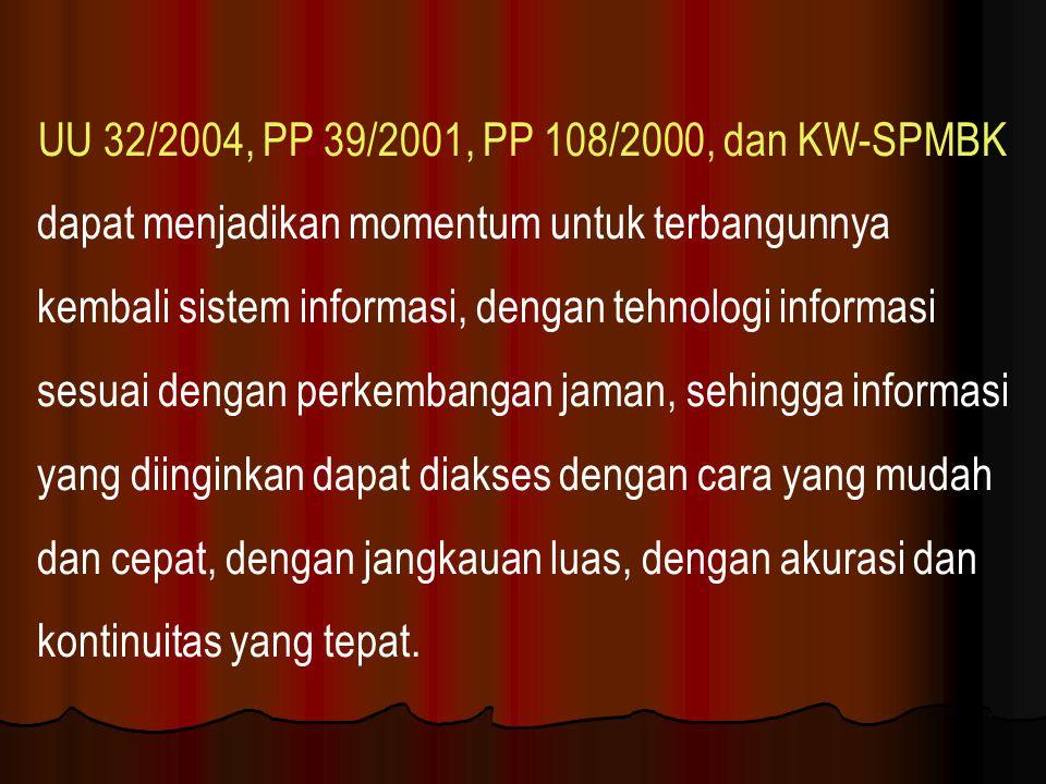 UU 32/2004, PP 39/2001, PP 108/2000, dan KW-SPMBK