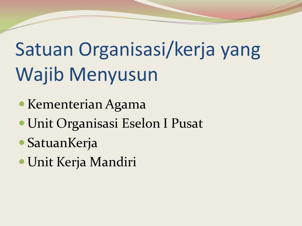 Satuan Organisasi/kerja yang Wajib Menyusun